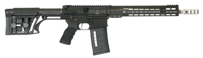 AR-10 3-Gun 7.62x51/.308 13.5 Inch Barrel with Turnable Brake Pinned for a Total 16 Inches Adjustable Stock Black 25 Round
