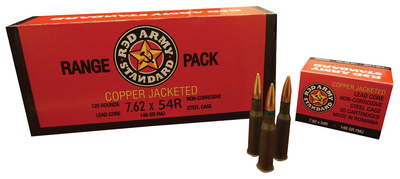 Red Army Standard Ammunition Romania Mfg. 7.62x54R Copper Jacketed 148 Grain Full Metal Jacket 720 Rounds Per Case