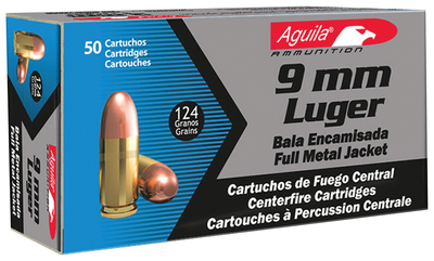 Aguila 9mm 124 Grain Full Metal Jacket Box of 50 Rounds