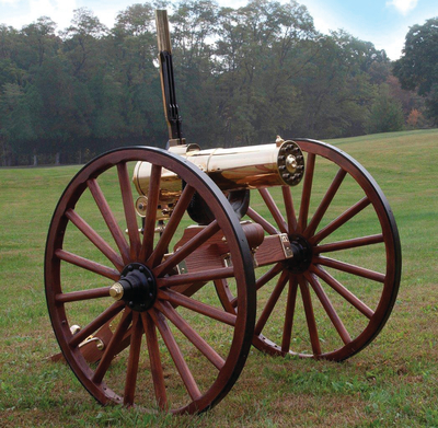 1877 Bulldog Gatling Gun Carriage 45-70 Government Caliber 10 Brass Encased Direct Drive Barrels Walnut Carriage