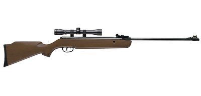 Vantage NP With 4x32mm Scope .177 Caliber Single Shot Rifled Steel Barrel 4x32mm Scope Fiber Optic Front Sight Fully Adjustable Rear Sight Brown Wood Stock Black Metal Finish
