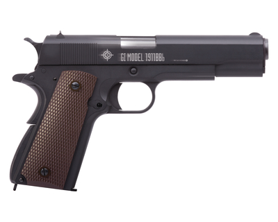 GI Model 1911BBb CO2 Powered Semi-Auto Gas Blowback Pistol 4.5mm/BB Caliber Fixed Sights Black Frame with Brown Grips