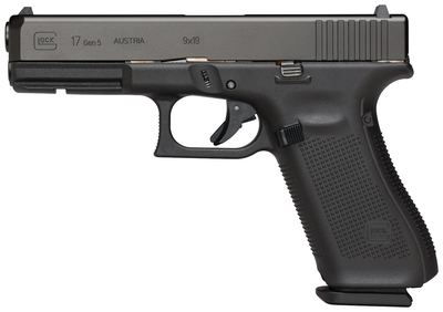 Gen5 Glock 17 9mm 4.49 Inch Barrel Black Armor Coating Fixed Sights Rough Textured Frame 5.5 Pound Trigger 10 Round