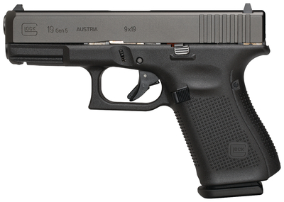 Gen5 Glock 19 9mm 4.02 Inch Barrel Black Armor Coating Fixed Sights Rough Textured Frame 5.5 Pound Trigger 10 Round