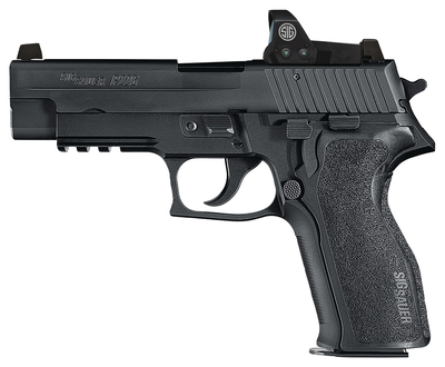 P226R With Romeo I Package 9mm 4.4 Inch Barrel Black Nitron Slide Finish Integral Rail Siglite Night Sights Romeo I Reflex Sight Polymer Grip 10 Round