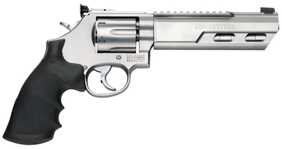 Model 686 Competitor .357 Magnum/.38 Special+P 6 Inch Weighted Stainless Steel Barrel Glassbead Finish Adjustable Sights Hogue Grip 6 Round