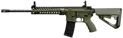 Model SOC-8510-00 5.56mm NATO 16 Inch Fluted Barrel 6 Position Ti-7 Adjustable Ergo Stock OD Green Cerakote and Matte Black Parkerized Finish Magpul Gen 2 30 Round PMAG