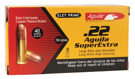 Aquila .22 Long Rifle 40 Grain High Velocity Solid Point Copper Plated 10 Boxes of 50