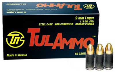 TulAmmo 9mm Luger 115 Grain Full Metal Jacket 50 Round Box
