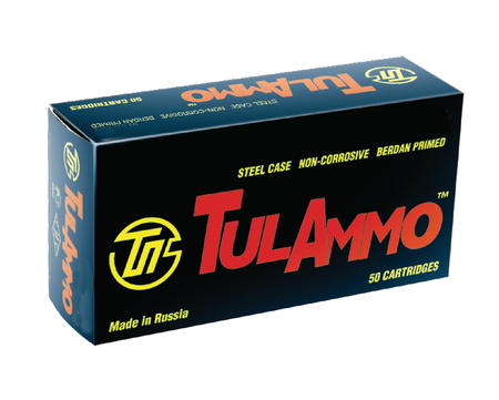 TulAmmo 9mm Luger 115 Grain Full Metal Jacket 50 Rounds Per Box 1000 Rounds Per Case