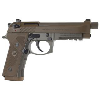 Model M9A3 9mm 4.9 Inch Extended Threaded Barrel 1/2x28 Threads Over Center Three Slot Picatinny Rail Flat Dark Earth Finish 3 Magazines 17 Round Italian Made