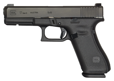 Gen5 Glock 17 9mm 4.49 Inch Barrel nDLC Black Finish Flared Magwell Ambi Slide Stop Glock Night Sights Three 17 Round Magazines