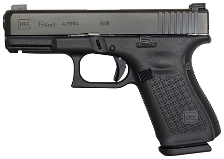 Gen5 Glock 19 w/ Night Sights |9mm 4.02 Inch Marksman Barrel Ameriglo Bold Sights nDLC Black Finish Flared Magwell Ambi Slide Stop 3 15 Round Magazines