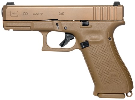 Glock 19X  |9mm 4.02 Inch Marksman Barrel Coyote Brown Finish Flared Magwell Ambi Slide Stop 3-Dot Night Sights Three 17 Round Magazines