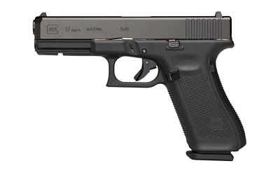 Gen5 Glock 17 |9mm Luger 4.49 Marksman Barrel nDLC Black Finish Flared Magwell Ambi Slide Stop Fixed Sights Three 17 Round Magazines