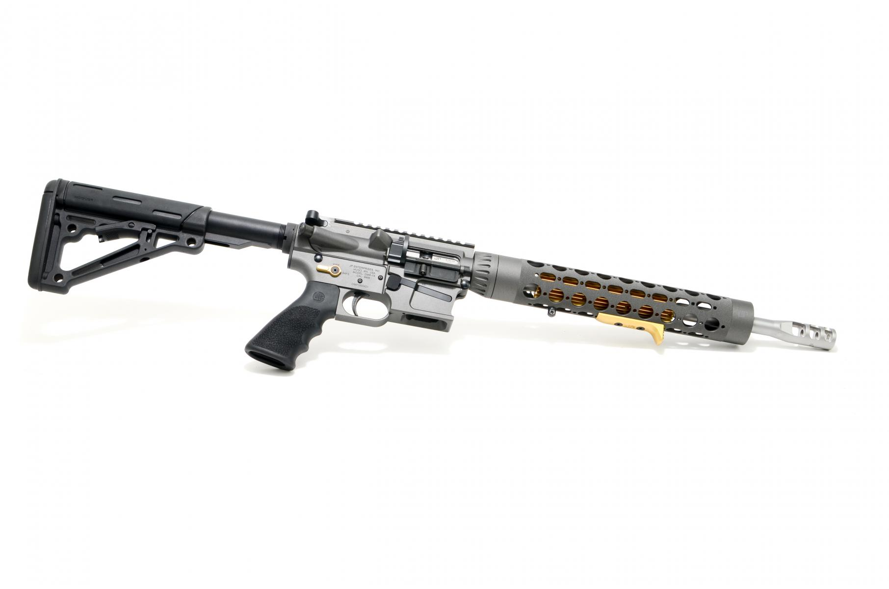 "JP GMR-15 Rifle |9mm 14.5"" Matte Bead Blast Stainless Barrel, Gray Cerakote, 12.5"" RC Handguard, Gold Thermal Dissipator / Controls, Carbine Silent Captured Recoil Spring, 3-Port Comp, Hogue Stock, JP Trigger, Soft Case, 10 Round Glock Magazine"