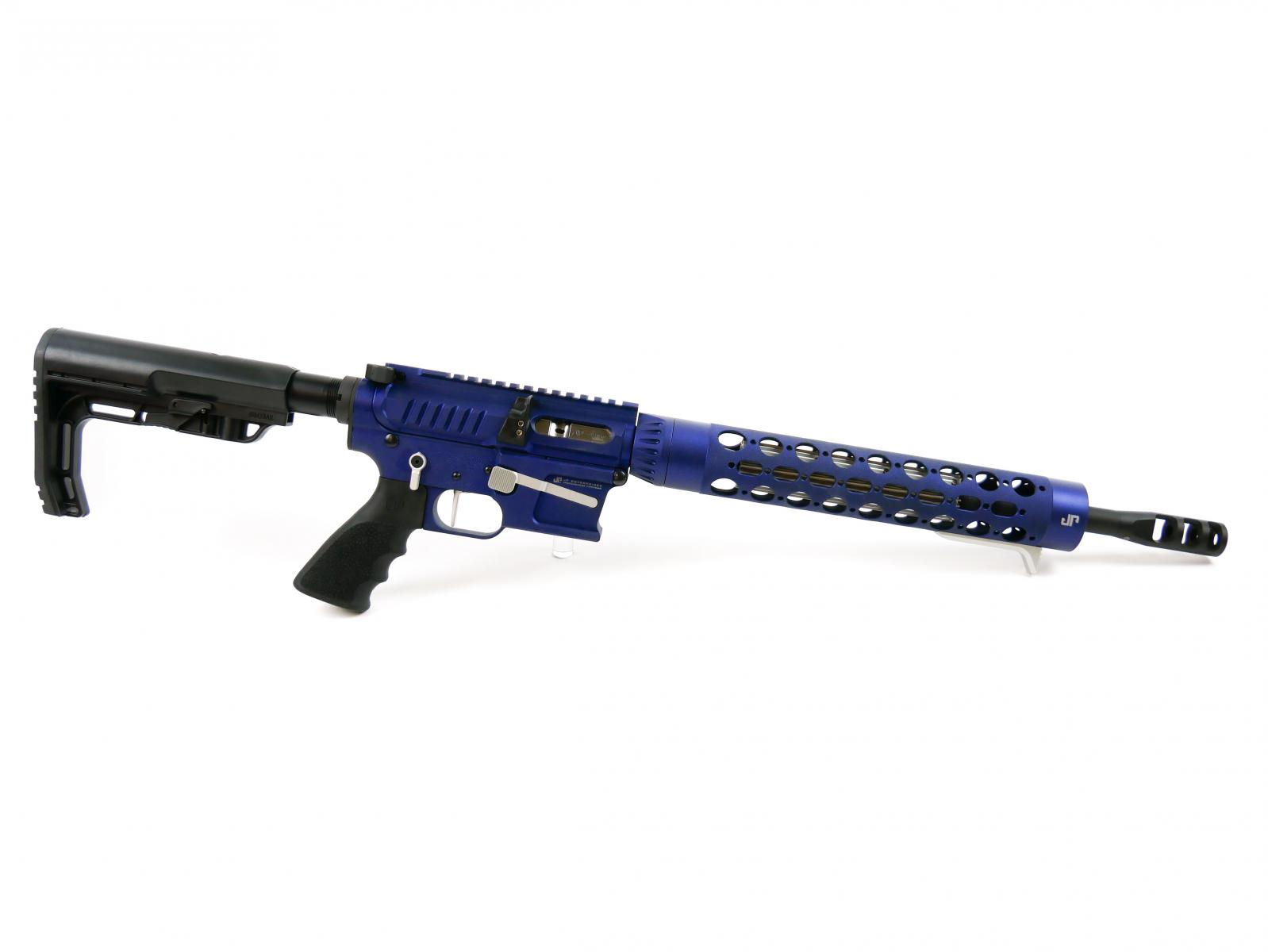 "JP GMR-15 Dual Charge Rifle |9mm 14.5"" Black Barrel, GunCandy Supersonic Finish, Top Charge / Side Charge Upper, Silver Thermal, Carbine Silent Captured Recoil Spring, MFT Adjustable Stock, 10 Round Glock Magazine"