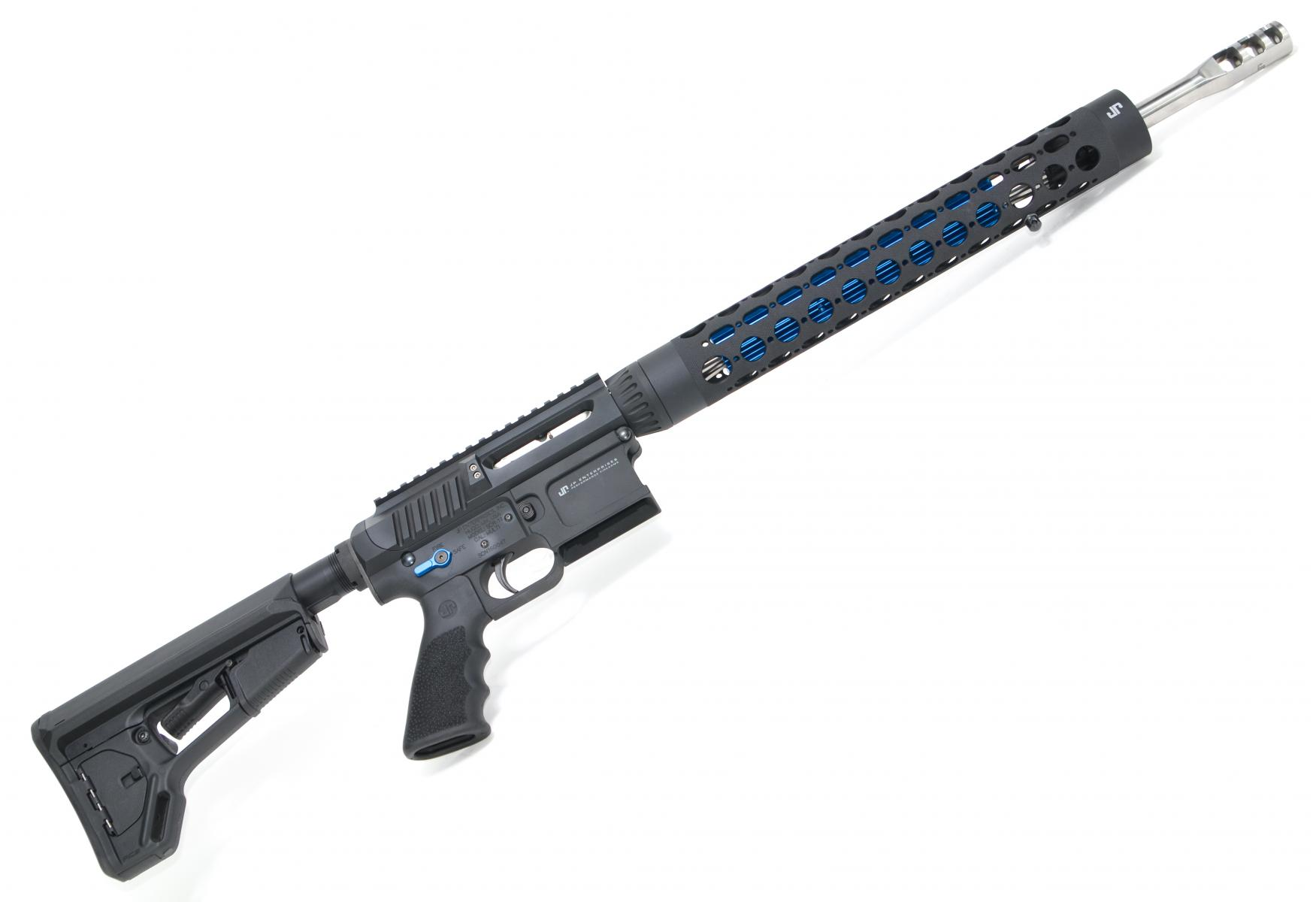 "JP SCR-11 |.223 Wylde 18"" 1:8 Twist JP Supermatch Barrel, Billet Upper/Lower w/ Side Charge System, Blue Thermal Dissipator, Silent Captured Recoil Spring, Low Mass BCG, ACS-L Stock"