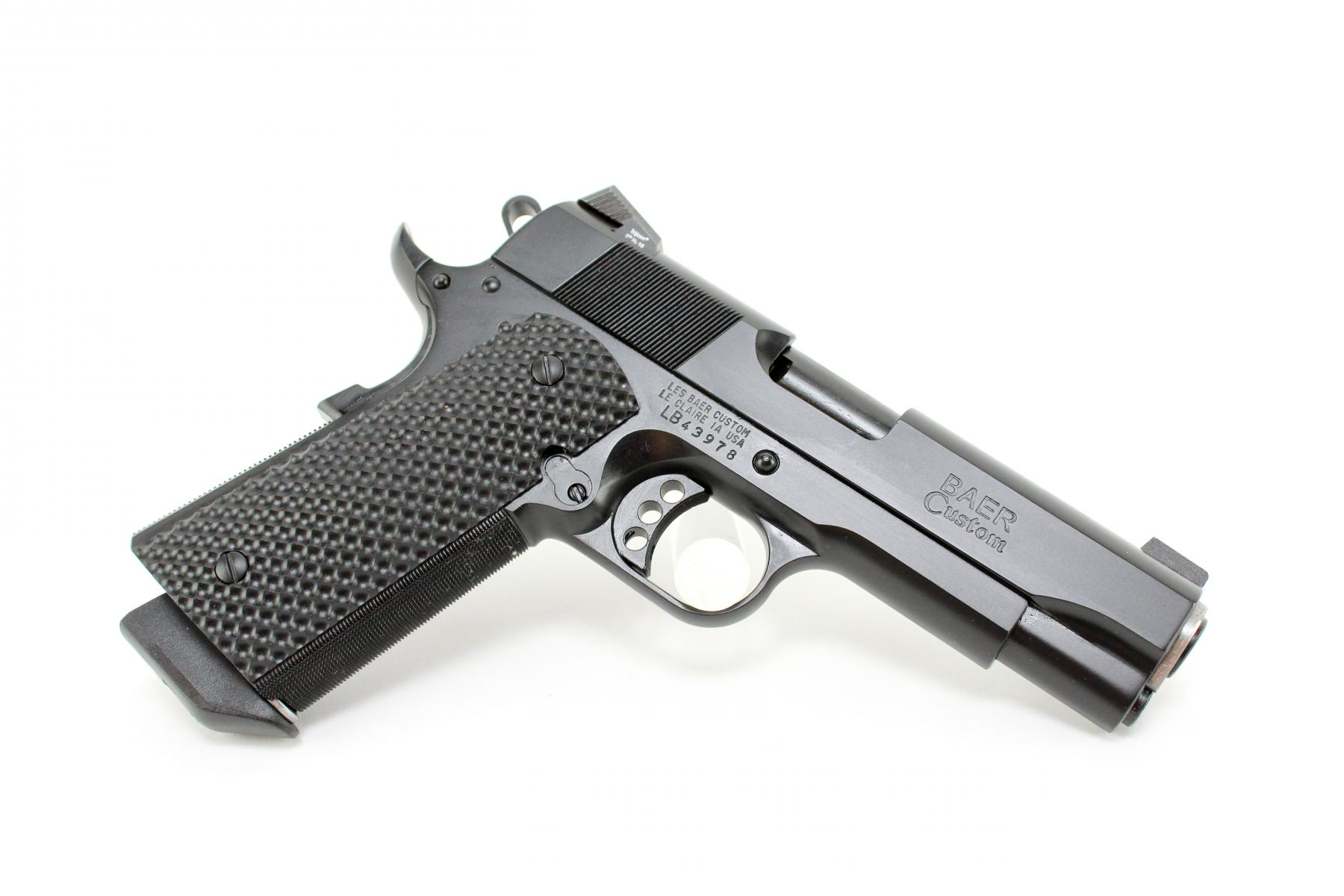 "Les Baer Black Bear Commanche |9mm 1911 4.25"" Barrel, Stainless Steel, Stinger Slide/ Commanche Frame, Extended Ambi Safety, Rounded Edges, G-10 Grips, 2 9-Round Magazines"