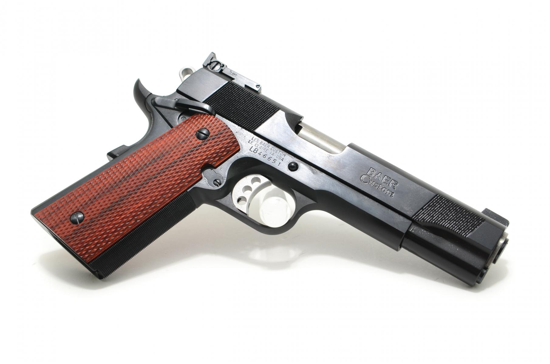 "Les Baer Premier II |9mm 1911 5"" Barrel w/ Supported Chamber, Blue Finish, Lowered and flared ejection port, Tuned and polished extractor, Baer extended ejector, Baer speed trigger w/ 4 lb pull, 2 Magazines"
