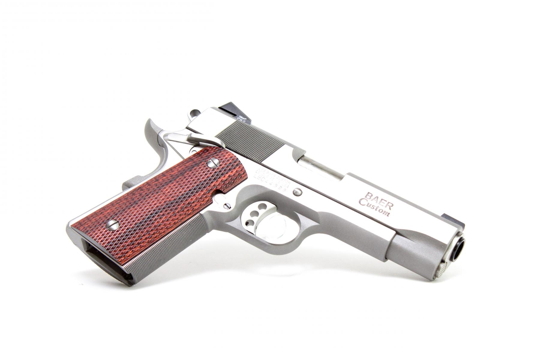 "Les Baer Stinger Stainless |.45ACP 1911 4.25"" Barrel, Stainless Steel, Night Sights, Stinger Slide/ Commanche Frame, Extended Ambi Safety, Rounded Edges, Cocobolo Grips, 2 7-Round Magazines"