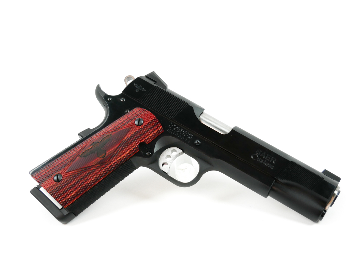 "Les Baer Gunsite Pistol | 45ACP, Blued, 5"" Baer NM Barrel, Fixed Rear Sight, Front Night Sight, Extended Tactical Safety, 2 8 Rnd Mags"