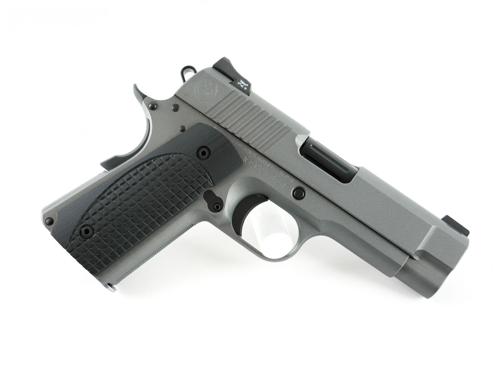 Carry Plus 1911 |9x19mm Tactical Gray Cerakote, Black Out Upgrade, Black Small Parts, Aluminum Frame/ MSH, Fluted and Crowned  Bull Barrel, Everlast Recoil System, Curved Slide Stop, Ball Endmill Cuts, Carry Cuts, Heine Straight Eight Rear, Tritium Front
