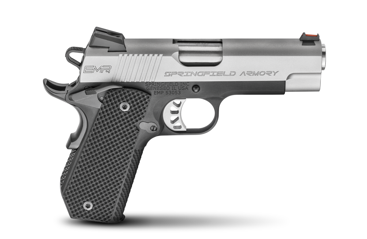 1911 EMP 4 Concealed Carry Contour |9mm 4 Inch Bull Barrel, Alloy Frame, Stainless Slide, G10 Grips, Fiber Optic Front Sight Low Profile Combat Rear, 3 9-Round Magazines