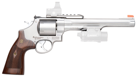 Model 629 Performance Center .44 Magnum/.44 Special 8.375 Inch Stainless Steel Barrel Glassbead Finish Orange Glow Blade Front Sight Wood Grip 6 Round