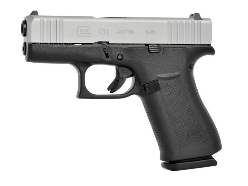"Glock 43X |9mm Single Stack 3.41"" Barrel Two Tone Finish Fixed Sights Front Cocking Serrations Two 10 Round Magazines"