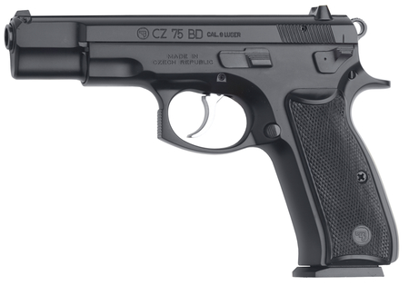 "CZ 75BD |9mm 4.6"" Barrel Black Poly-coat with Decocker, 3-Dot Sights, Two 16Rd Mags"