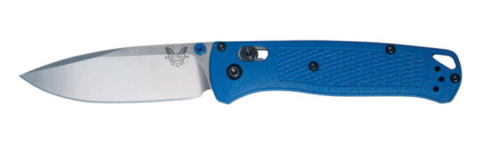 "535 Bugout| AXIS Locking Mechanism, 3.24"" CPMS30V (58-60 HRC) Blade, Plain Blade Edge, Blue Textured Grivory Handle"