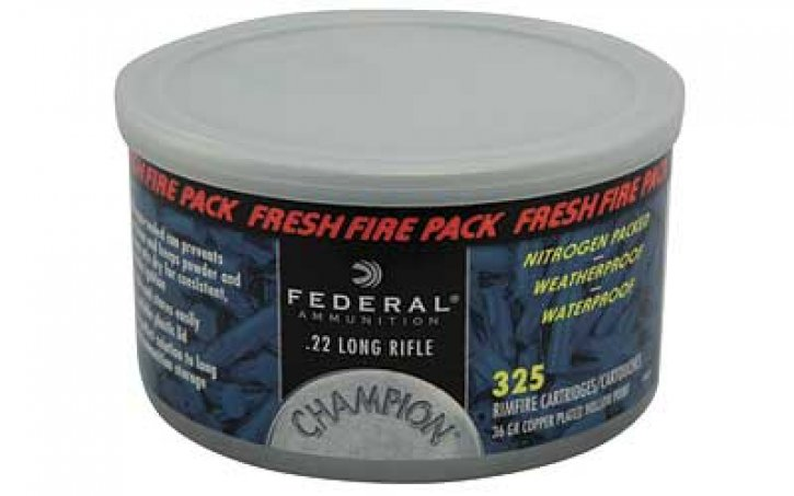 Federal 029465058296 745FF Champion Fresh Fire Pack 325 Rnd |.22 Long Rifle 36 Grain Copper Plated Hollow Point 325 Rounds Per Can