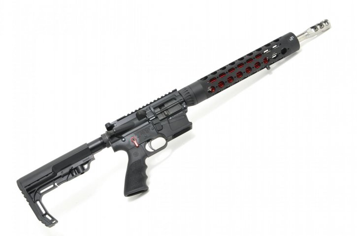 "JP Rifles GMR-15-14-RC-Red GMR-15-14-RC-Red JP GMR-15 Rifle |9mm 14.5"" Polished Stainless Barrel, 12.5"" RC Handguard, Red Thermal Dissipator / Controls, Carbine Silent Captured Recoil Spring, 3-Port Comp, MFT Stock, JP Trigger, Soft Case, 10 Round Glock Magazine"