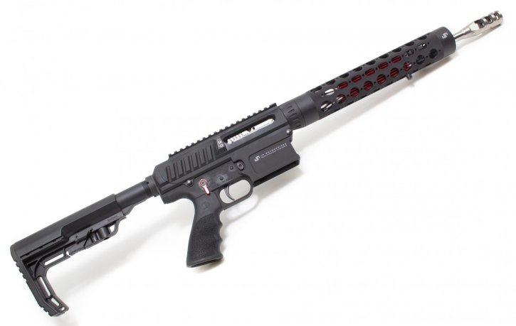 "JP Rifles LRP-07-ULR-Red LRP-07-ULR-Red JP Ultralight LRP-07 |.308 Win/7.62x51 14.5"" 1:11.25 Twist Ultralight Contour Barrel, Billet Upper/Lower w/ Side Charge System, Titanium Compensator, Red Thermal Dissipator, Silent Captured Recoil Spring, Low Mass BCG, 10-Round Magazine"