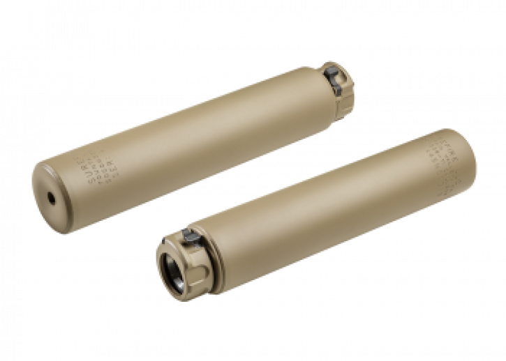 "Surefire SOCOM338-Ti Sound Suppressor (Silencer) | .338 Cal 10"" Long, 22 Ounces, Dark Earth Finish, SOCOM 2 Series, Compatible w/ SFMB-338-3/4-24 or SFMB-338-5/8-24 Muzzle Devices - NFA Item"