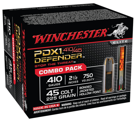 PDX1 Defender Combo Pack 10 Rounds .410 Gauge 2.5 Inch 3 Discs 12 BBs 10 Rounds .45 Colt 225 Grain