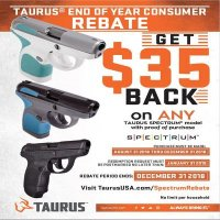Get $35 Back on ANY Taurus Spectrum Model with Proof of Purchase