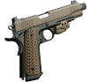 "Warrior SOC TFS 1911 |45ACP 5.5"" Threaded Barrel, Picatinny Rail, FDE Slide, Front Cocking Serrations, Ambi Safety, 3-Dot Night Sights, One 7-Round Magazine"